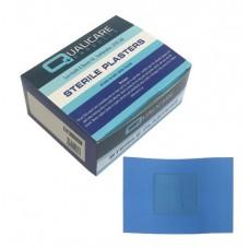 Pk100 Qualicare Latex Free Blue Detctable Plasters 7.2 x 5 cm