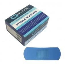 Pk100 Qualicare Latex Free Blue Detctable Plasters 7.2 x 2.5cm